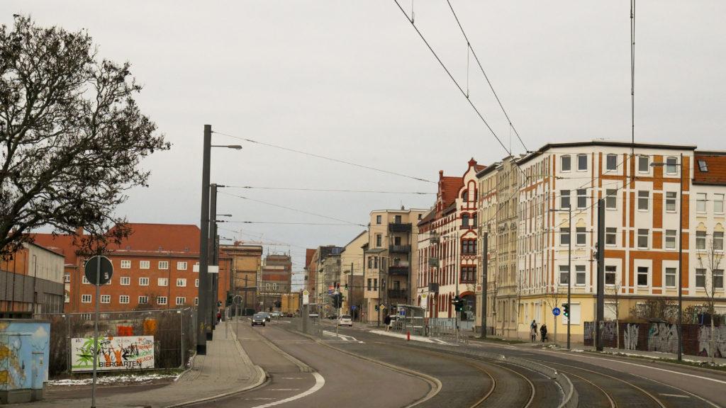 Blick in den Böllberger Weg stadteinwärts